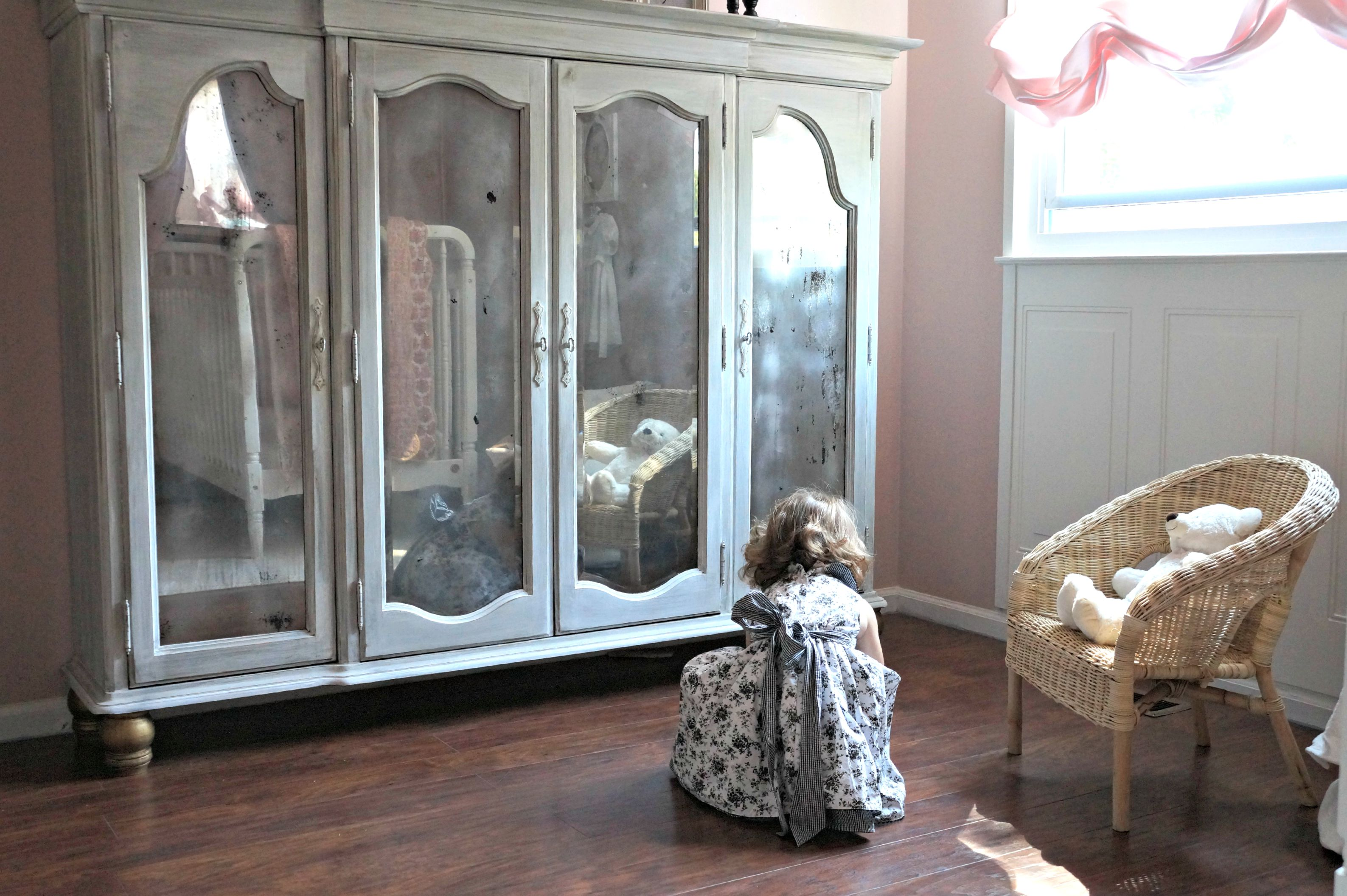 restoring a hutch to a little girl armoire seeking lavendar lane