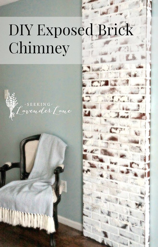 DIY exposed brick chimney #diy #chimney #brick #fauxbrick