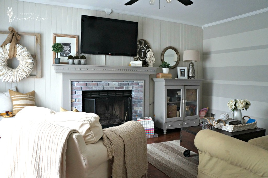 Family room with rustic wreath