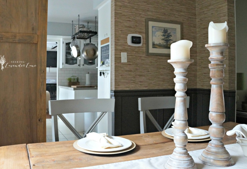 Rustic Grass cloth Dining Room