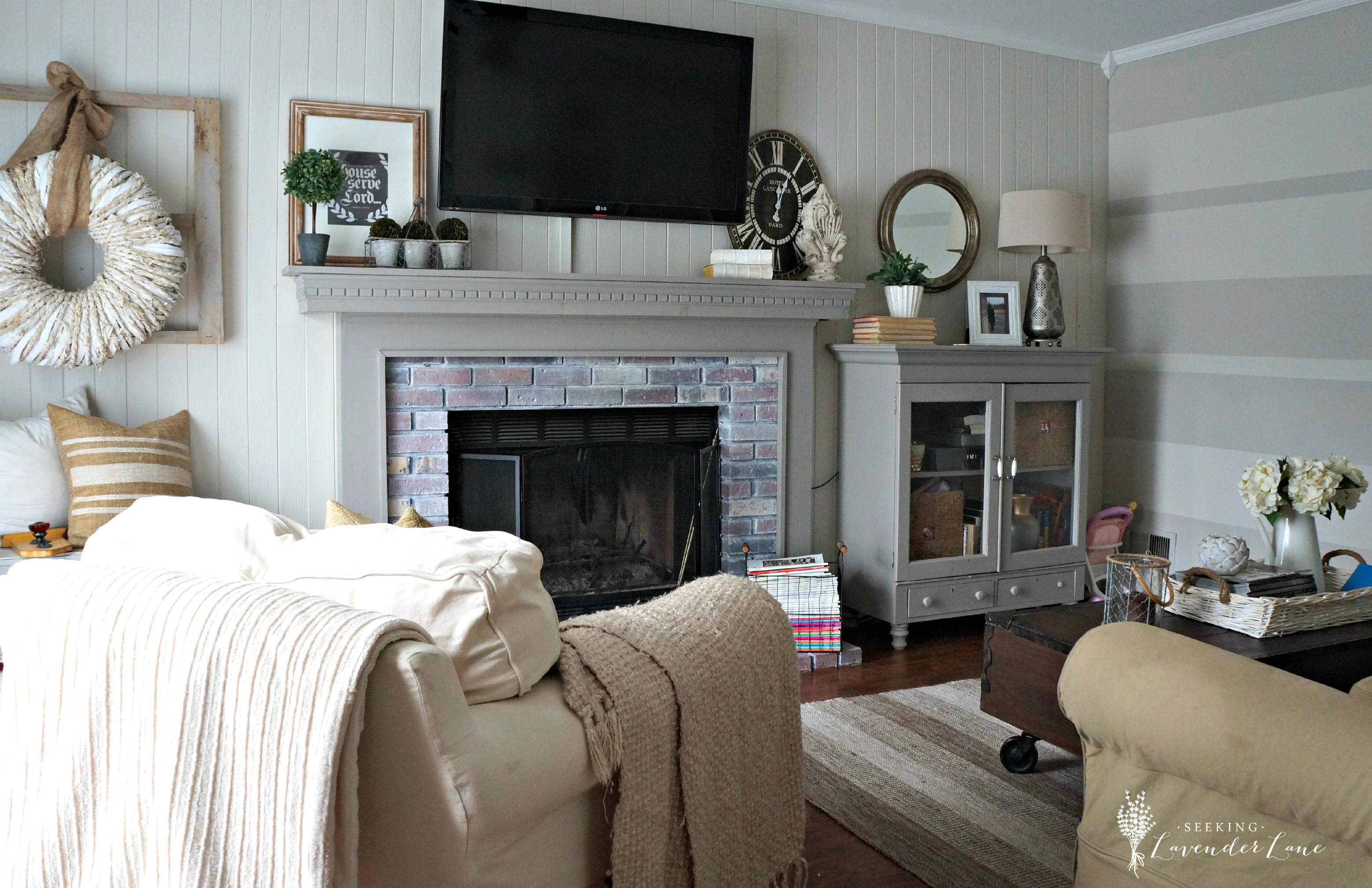 Rustic Chic Family Room early summer home tour