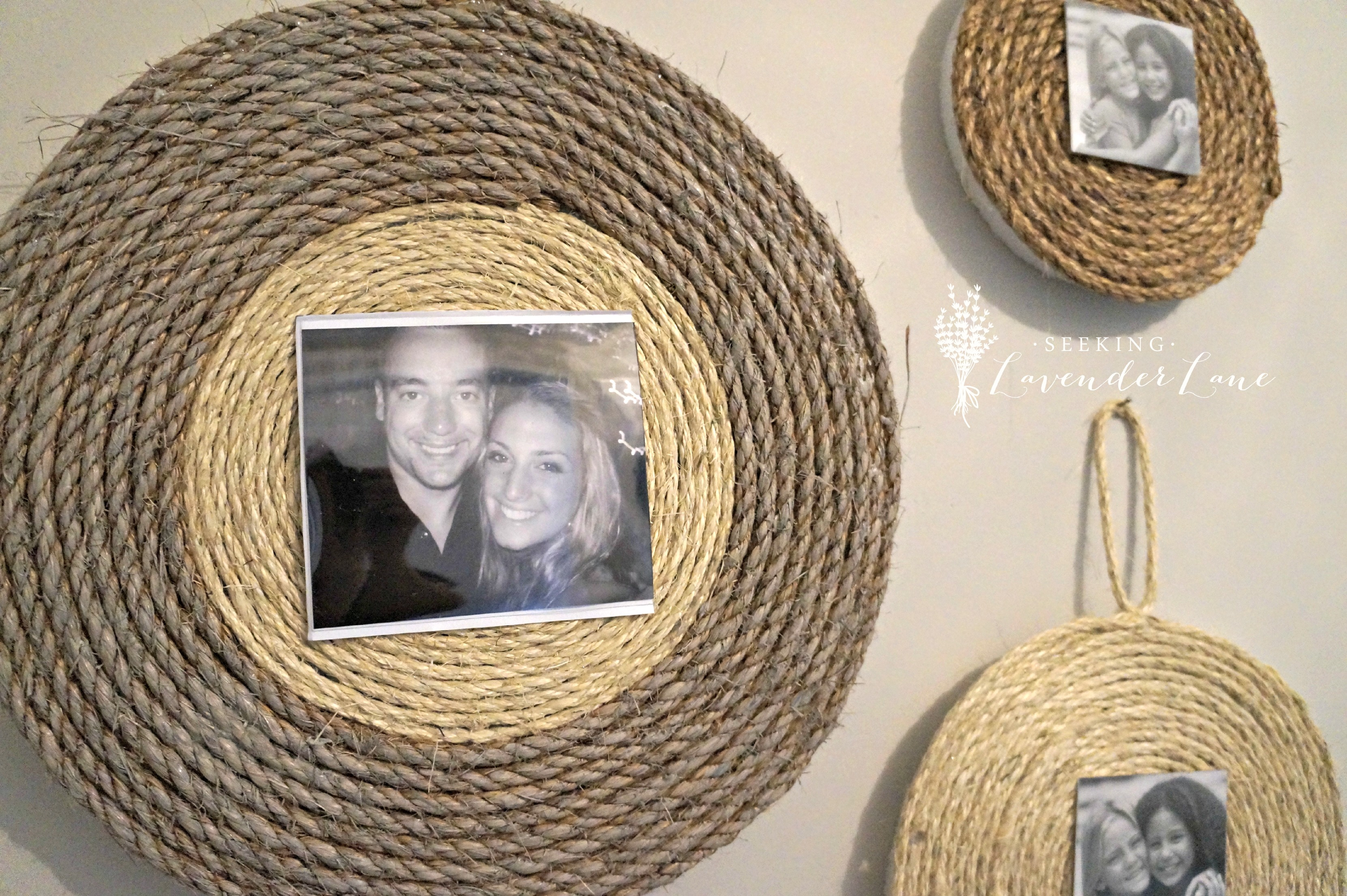 that photo above is the only black and white i could find in my stash of photos it is from our honeymoonwe look like babies diy wall rope frame