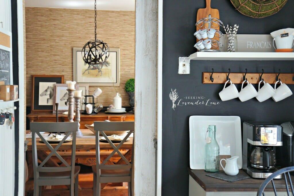 Chalkboard Wall Barn Door and dining room