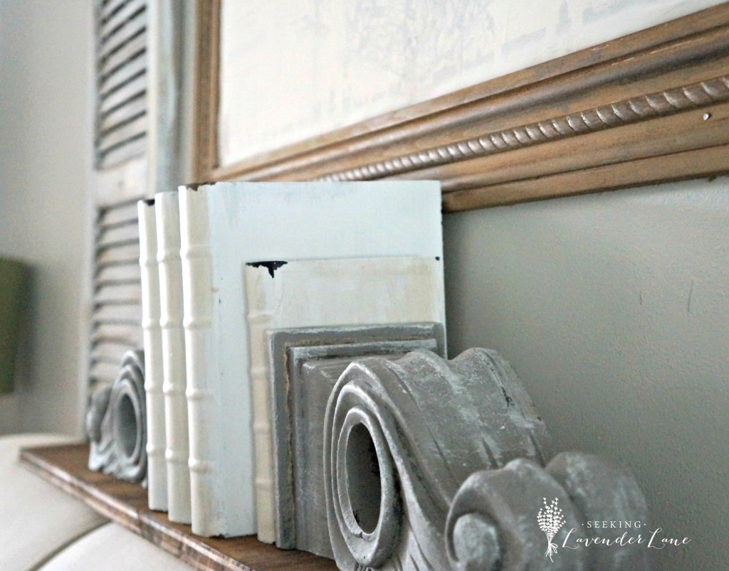 Distressed books and corbels