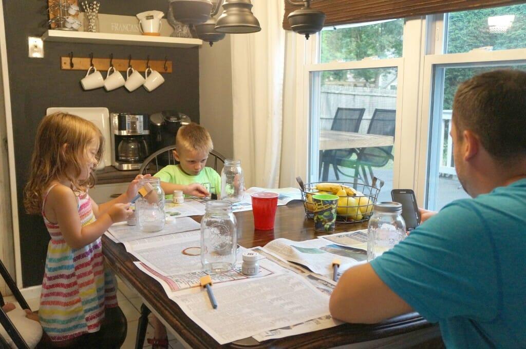 Family Mason jar painting