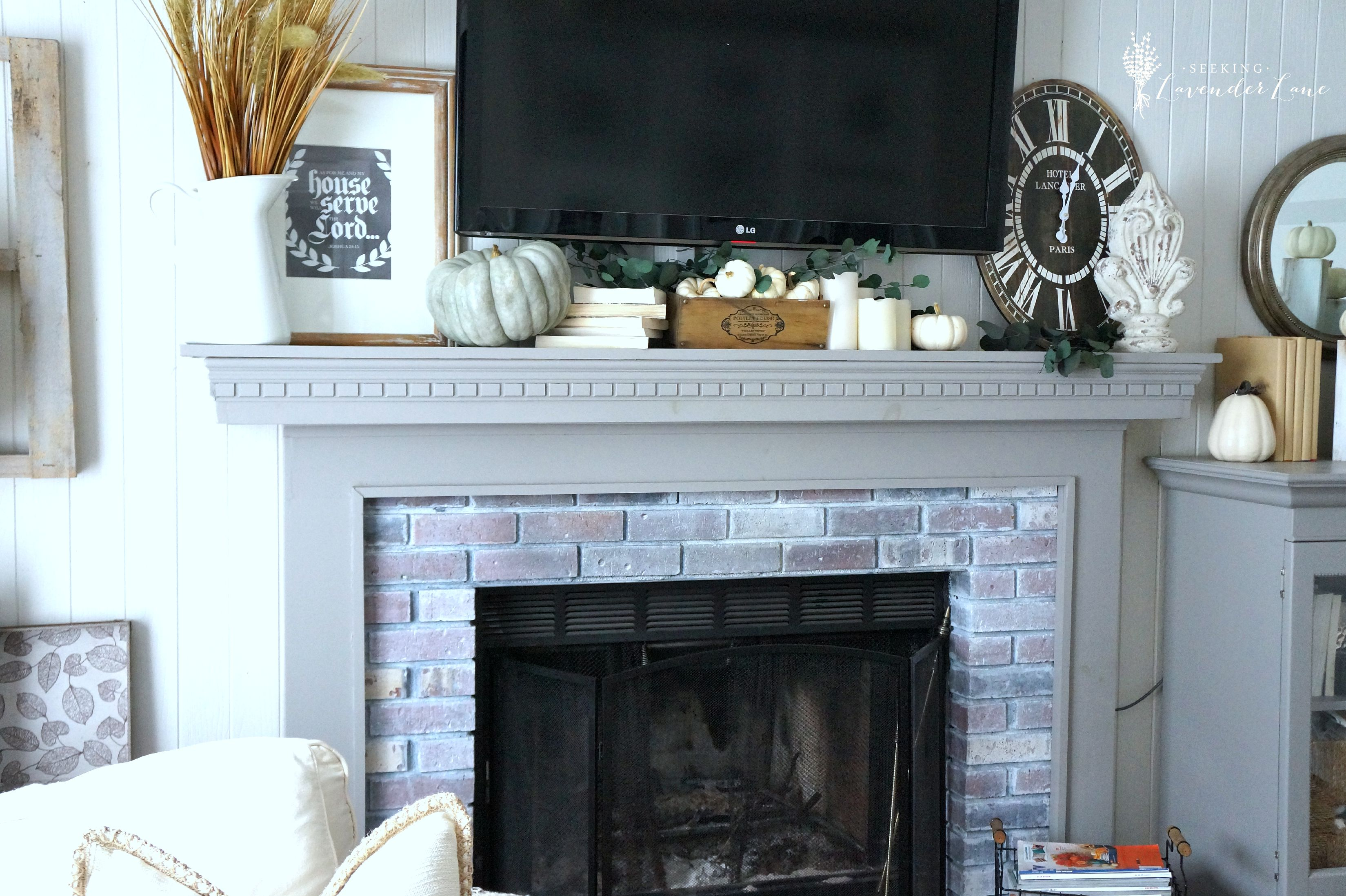 The farmhouse fall tour seeking lavender lane for Farmhouse fireplace decor