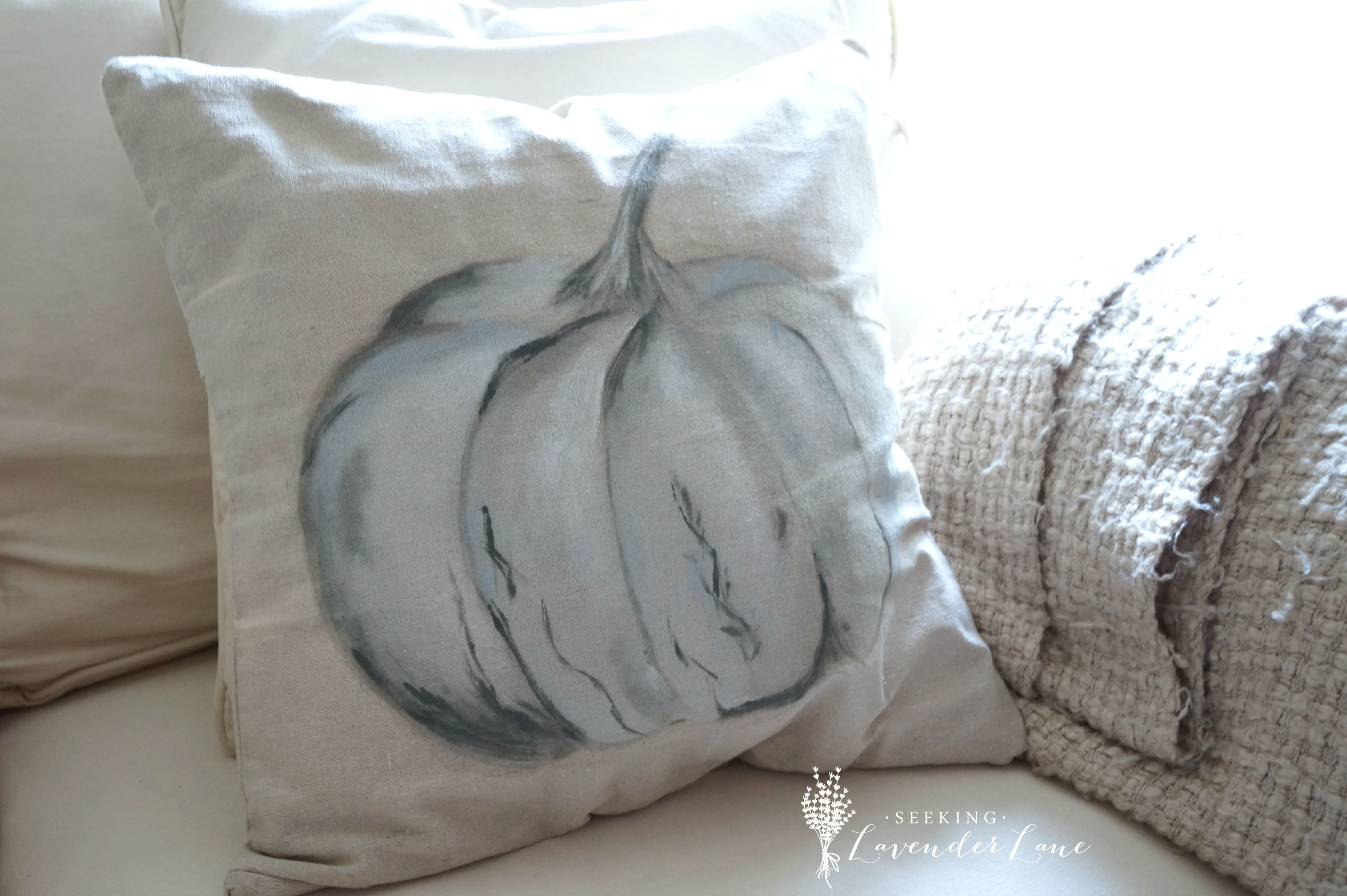 Painted Pumpkin Pillow: Pottery Barn Inspired