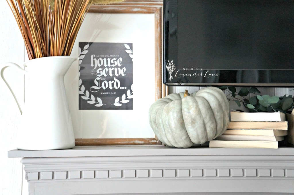pumpkin decor on mantel