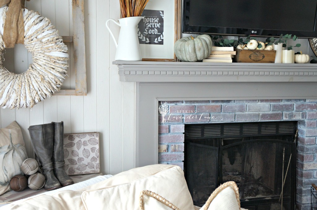 sideview fireplace fall decor
