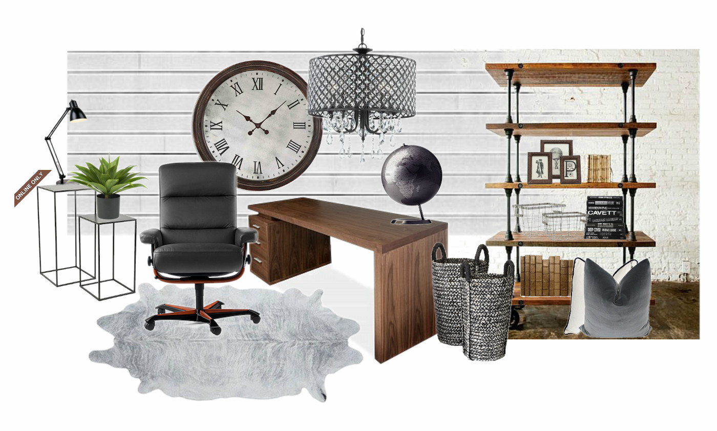 Rustic meets modern office design board seeking lavendar for Modern home accessories