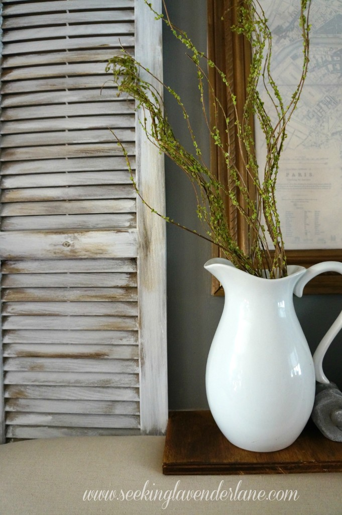 White Pitcher Dark Gray Wall