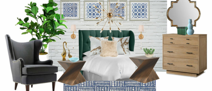 Boho Mod Bedroom Design Board