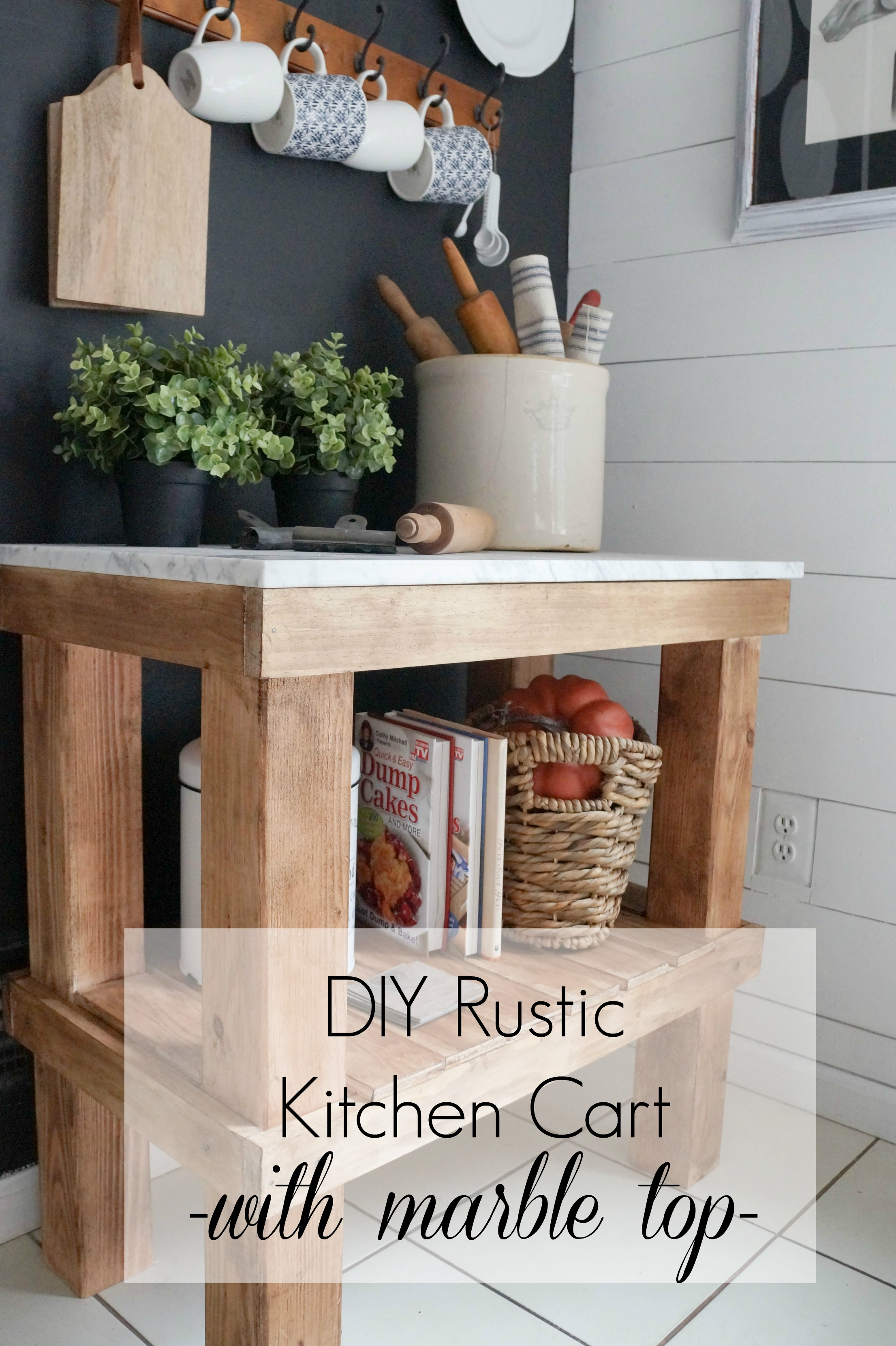 DIY Rustic Cart with Marble Top