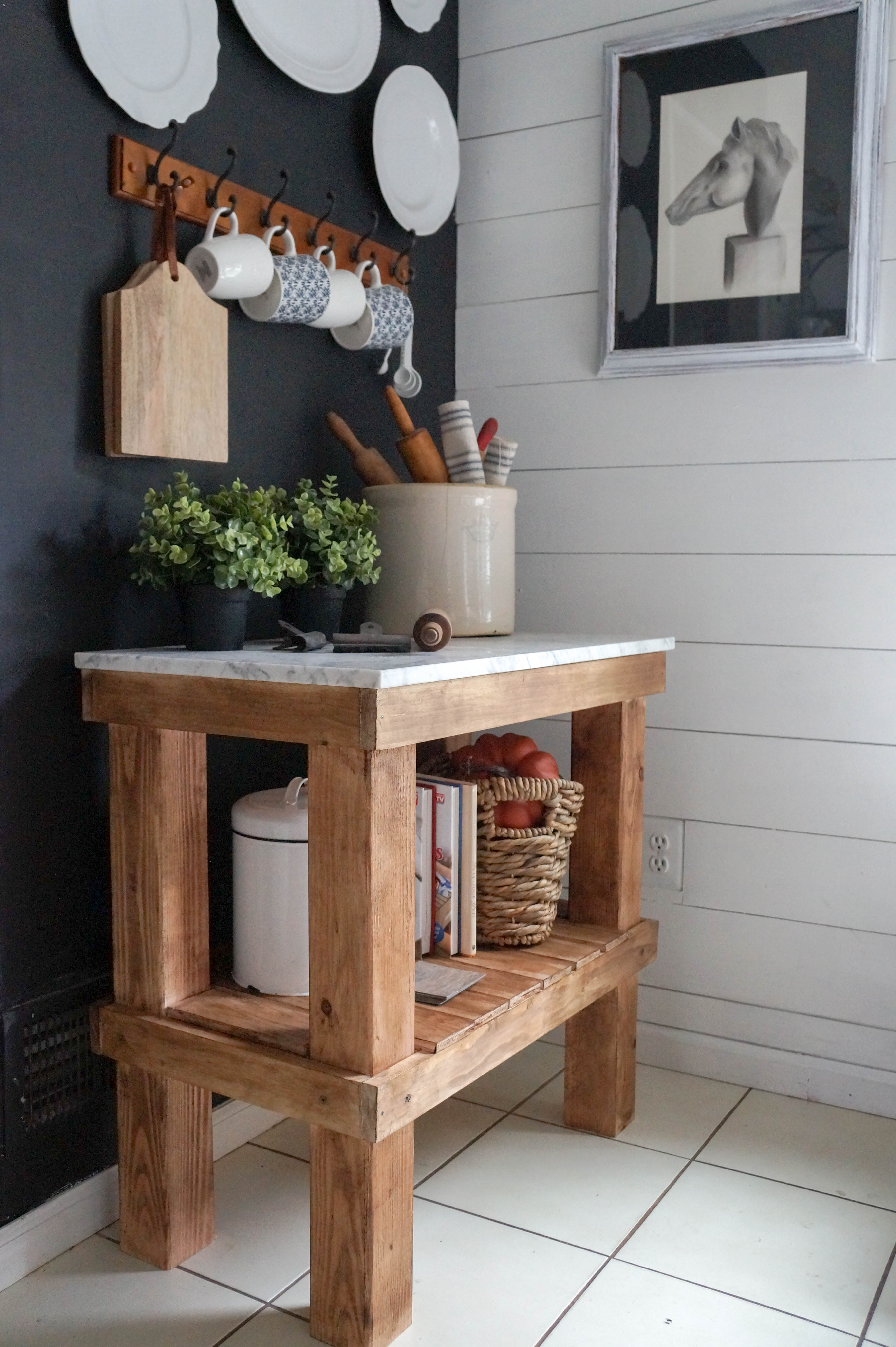 kitchen cart diy rustic cart with marble top seeking