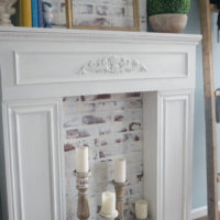 Painting our Faux Fireplace