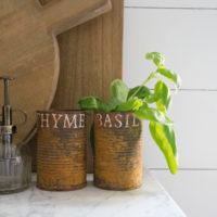 DIY Rust Cans Herb Display